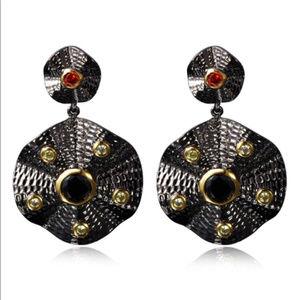 AAA Cubic Zirconia Gun plated earrings